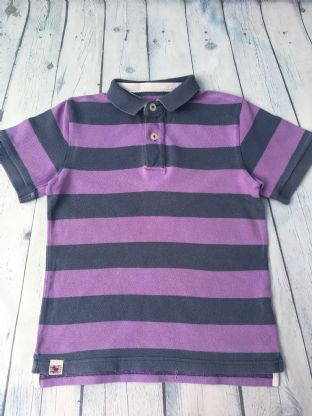 Mini Boden purple and navy striped polo shirt age 5-6